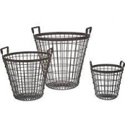 Creative Co-op Creative Co-op Shabby Cottage Chic Set of Three Wire Baskets Storage Home Decor DE3063