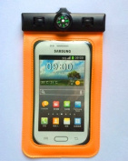 Unitewell New Orange Waterproof Pouch Bag Case Cover with Compass Armband and Neck Strap for Samsung Galaxy S5 i9600,S4 i9500,S3 i9300/HTC One X M7