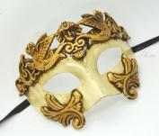 Roman Warrior Venetian Masquerade Mask - Greek Venetian Masquerade Mask - Metallic Sun God Mask - Mardi Gras Costume Gold/Ivory