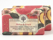 Natural Plant Oil French Triple Milled Moisturising Soap with Pure Shea Butter Melon & Peach 2 bars 210ml each