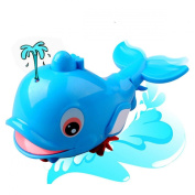 Luckystone Spray Water Dolphins Infant Bath Pull Toy Baby Bathtub Swimming Toys