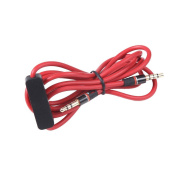 Red Colour 3.5mm Audio Cable Lead Cord w MIC For Nakamichi NK 780 M Over-Ear Headphone