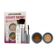 Start Now 5 Piece Beauty To Go Collection (Primer, Pressed Powder, Mineral Glow, Mascara, Chisel Brush) - Porcelain, 5pcs
