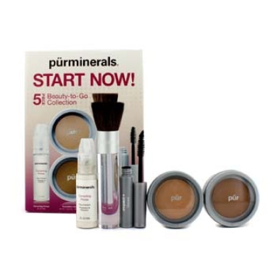 Start Now 5 Piece Beauty To Go Collection (Primer, Pressed Powder, Mineral Glow, Mascara, Chisel Brush) - Golden Medium, 5pcs