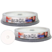 Smart Buy 20 Pack Bd-r Dl Printable White Inkjet 50gb 6x Blu-ray Double Layer Recordable Disc Blank Data Video Media 20-discs Spindle