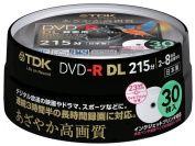 TDK Recording for Dvd-r Dl (White Wide Disc) 30 Spindle Dr215dpwb30ps 8 Speed Corresponding Ink-jet Printer Support (Single-sided, Dual-layer) Cprm Support