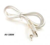 CablesOnline 1.8m 3.5mm(1/8in) Stereo TRS Right Angle Male to Male White Audio Cable