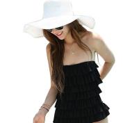 Nsstar Women's Ridge Wide Floppy Brim Summer Beach Sun Hat Straw Cap Party Garden Travel (Wide Brim