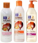 Dark and Lovely Au Naturale Anti Shrinkage 3pcs Set (Gentle and Sulphate free Wash, Knot Out Conditioner, and Cleaning Conditioner Creme) Includes 1 AFRICAN PRIDE moisturising STYLING GEL 220ml