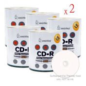 Smart Buy Cd-r 1000 Pack 700mb 52x Thermal Printable White Blank Data Music Recordable Media Discs, 1000 Disc, 1000pk
