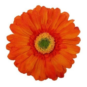 Gerbera Daisy Artificial Flower Hair Clip/Pin Brooch, Rust Orange