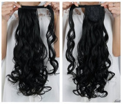 """Onedor 20""""/50cm Long Curly Wrap Around Clip in Ponytail Hair Extension Japanese Synthetic 120g-130g"""