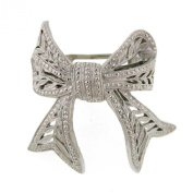 Vintage Inspired Silver Ponytail Bow Clip