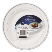 Masterpiece Plastic Plates, 9 in, White w/Silver Accents, Round, 10/Bag