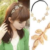 Ibeauty(TM) 1pcs Fashion Lady Black Elastic Hairpin Rope Hair Band Gold Olive Leaf Headband