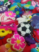 100 Silicone Charms - By Toto Charms - Compatible with All Common Bracelet Rubber Band Loom Kits - Assorted Designs - Colourful - For Childrens' Jewellery, Arts & Crafts