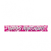 Happy Birthday Foil Banner - PINK - 2.7m