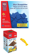 BRICTEK 19011 Brown Roof Tiles and 19014 Blue Baseplates Building Blocks. with Block Remover & 2 Figurines