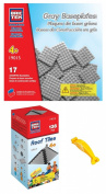 BRICTEK 19012 Grey Roof Tiles and 19015 Grey Baseplates Building Blocks. with Block Remover & 2 Figurines