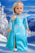 Snow Queen - Long turquoise dress with sparkling cape and silver shoes - 46cm American Girl Doll Clothes