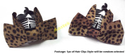 Lovely Vintage Jewellery Crystal Bowknot Bow tie Brown Black Poka Dot Leopard Pattern Hair Claws Octopus Clips Barrette for Hair Fashion Beauty Accessories- Style 4 AOSTEK