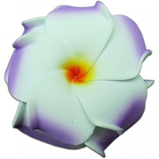 Foam Double Petal Flower Medium Hair Clip Plumeria Lilac, White