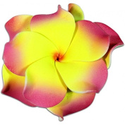 Foam Double Petal Flower Medium Hair Clip Plumeria Red, Orange