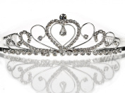 Wedding Bridal Sparkle Crystal Rhinestone Heart Shape Silver Plated Crown Necklace Stud Earring sets