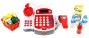 Multi-Deluxe Cash Register Pretend Play Battery Operated Toy Cash Register w/ Working Scanning Action, Real Calculator, Microphone, Accessories