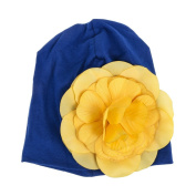 So Beauty Baby Yellow Flowers Dark Blue Hat Infant Cap Newborn Cotton