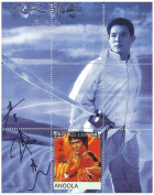 Chinese martial art movie stars of Hollywood stamp sheet with Jet Li and Bruce Lee - 1 stamp - Mint - Angola