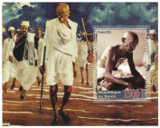 Mahatma Gandhi stamp Indian nationalist icon stamp sheet for collectors / 2005 / Benin