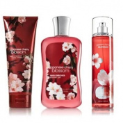"Bath & Body Works Signature Collection "" Japanese Cherry Blossom"" Gift Set ~ Body Cream ~ Shower Gel & Fragance Mist ~"