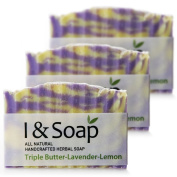 All Natural Handcrafted Herbal Soap (Triple Butter-Lavender-Lemon) - 3 pack