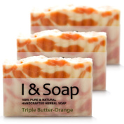 All Natural Handcrafted Herbal Soap (Triple Butter-Orange) - 3 pack
