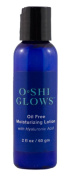 O*SHI GLOWS Oil Free Hyaluronic Moisturising Lotion; NonComedogenic; Pure Hyaluronic Acid Moisturiser; 60ml Natural Facial Moisturiser for Oily or Acne Prone Skin, Non comedogenic, for Naturally Healthy Skin; 70% Organic. loe, Vitamin B5 (Pantothe ..