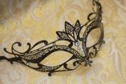Vintage Venetian Black Swan Laser Cut Masquerade Mask - Decorated With Gem Crystals
