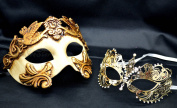 New Couple Lover Mask Gold Egyptian + Gold Extravagant Mardi Gras Venetian Halloween Ball Prom Masquerade Mask