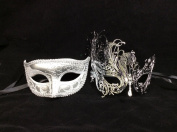His & Hers Masquerade Couples Venetian Design Masks - 2 Piece Silver Coloured Set - Perfect Couple Mardi Gras Long Swan Party Halloween Ball Prom
