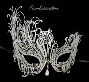 New Magical White Swan Mask Laser Cut Venetian Halloween Masquerade Mask Costume Extravagant Inspire Design - White w/ Rainbow Rhinestones