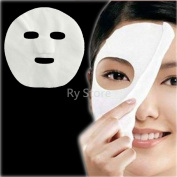RY US Seller! 100 Pcs DIY White Colour Natural Spa Skin Care Treatment Fibre Face Masks Nonwoven Pre-cut Facial Paper Sheet Facial Mask