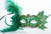 Green Classic Venetian Masquerade Mardi Gras Costume Mask W/feathers & Leafs