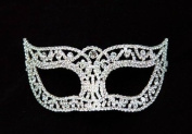 Mysterious Laser Cut Venetian Design Masquerade Mask for Mardi Gras Or Halloween - Decorated with Gem Crystals