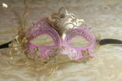Mysterious Pink and Gold Laser Cut Venetian Swan w/ Side Flower Design Masquerade Mask for Mardi Gras Or Halloween