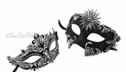His & Hers Masquerade Couples Venetian Design Masks - 2 Piece Coloured Set - Perfect Couple Mardi Gras Majestic Party Halloween Ball Prom