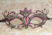 Mysterious Black w/ Pink Gem and Glitter Laser Cut Slim Venetian Swan Design Masquerade Mask for Mardi Gras Or Halloween