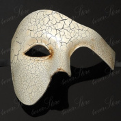 Venetian Half Men Mask Masquerade Mardi Gras 'Phantom of the Opera' Design [Ivory]