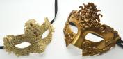 Roman Greek God and Lace Goddess Set - His & Hers Elegant Phantom Masquerade Masks [Antique Gold Themed] - New Year's Eve, Mardi Gras Theatre