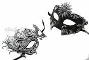 His & Hers Masquerade Couples Venetian Design Masks Sun God & Swan - 2 Piece Coloured Set - Perfect Couple Mardi Gras Majestic Party Halloween Ball Prom