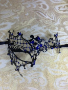 Mysterious Black Laser Cut Venetian Half-Mask Impression Masquerade Mask for Mardi Gras Or Halloween - Decorated with Sparkling Blue Gem Crystals